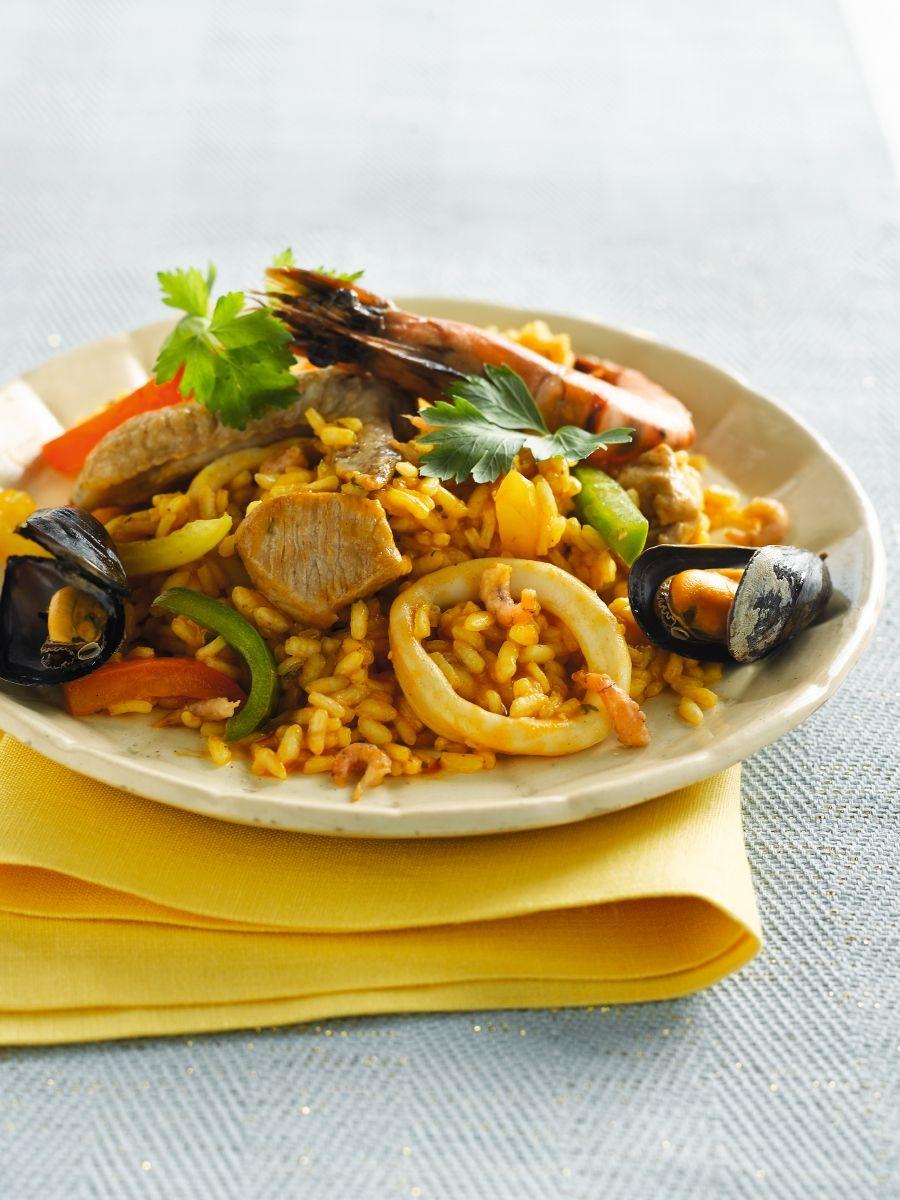 Recept 'paella met gamba's en calamares'