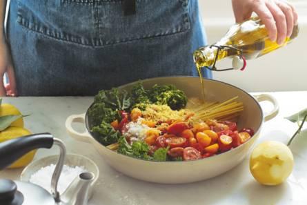 Snelle spaghetti met spinazie