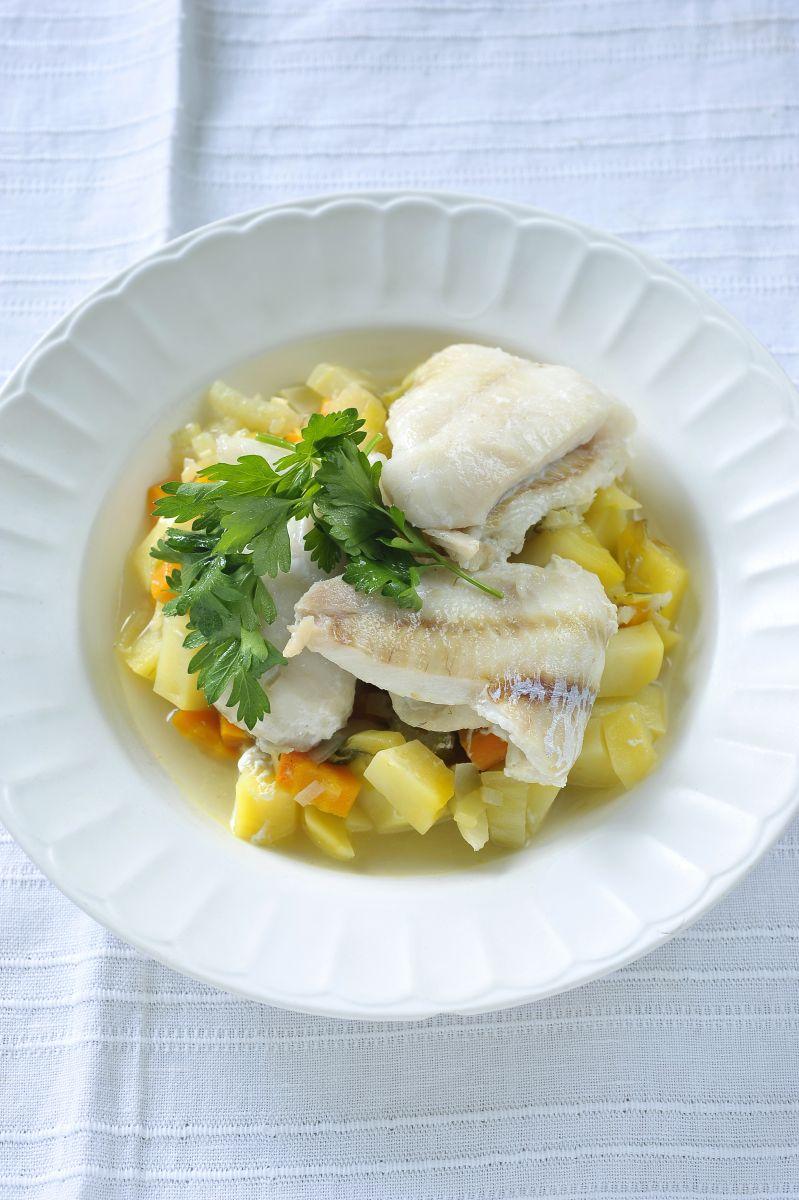 Recept 'snel stoofpotje met groenten en vis'