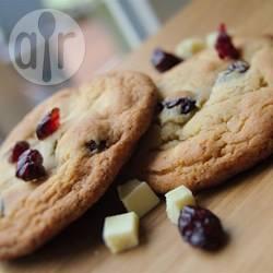 Koekjes met witte chocola en cranberry recept
