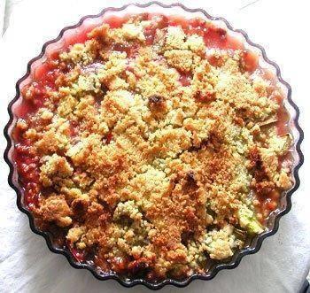 Rabarber aardbeien crumble recept