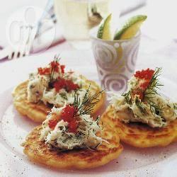 Rijstpannenkoeken met krab recept