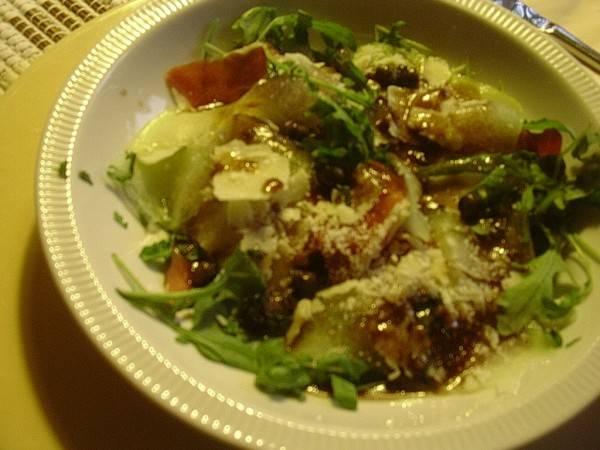 Salade van rucola, meloen en serranoham recept