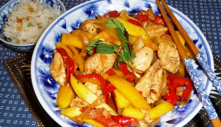 Kipfilet met mango en paprika recept