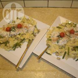 Tagliatelle met asperges en gerookte forel recept