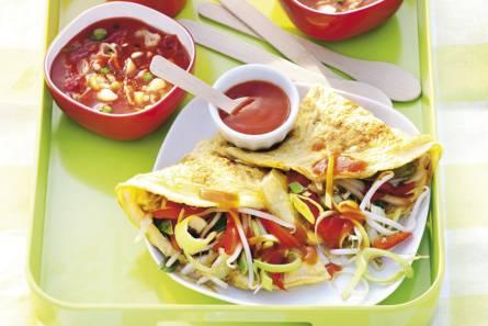 Chinese omelet met roerbakgroenten