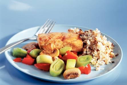 Koolvis met groenten en rijst