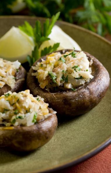 Recept 'gevulde champignons met geroosterde ui'