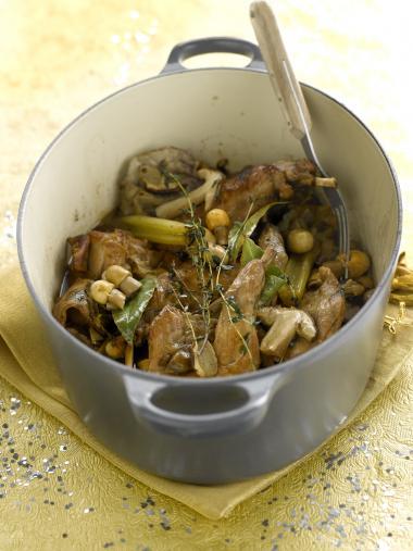 Recept 'konijn met paddenstoelen'