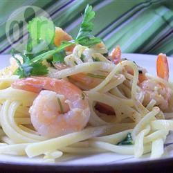 Tagliatelle pasta met garnalen recept