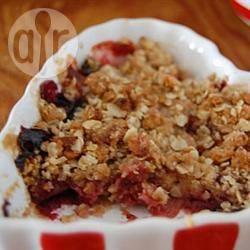 Frambozen-rabarbercrumble recept