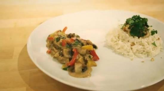 Rijst met champignon-roomsaus recept