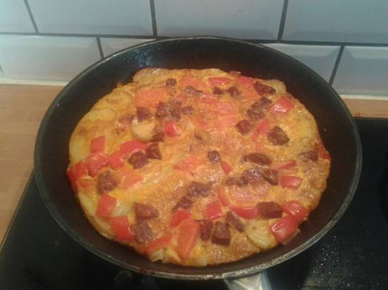 Tortilla met paprika en chorizo recept