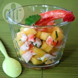 Garnalenverrine met mango en pistacheolie recept
