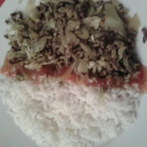 Spitskool met gehakt en witte rijst recept