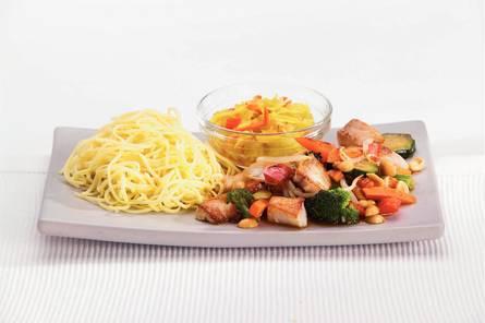 Tilapia met groenten uit de wok