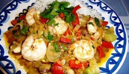 Thaise wokschotel met grote garnalen recept
