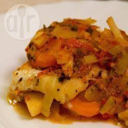 Ovenschotel met witte vis, groenten en kaas recept