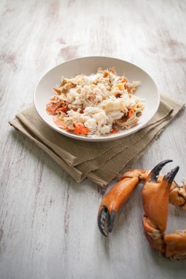 Recept 'krabhap met spinazie en espuma'