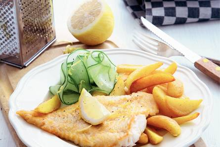Kerrieaardappeltjes en gebakken vis