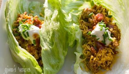 Wraps/ taco's van ijsbergsla met kalkoengehakt(rund) op mex ...