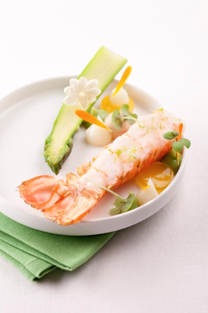 Recept 'groene asperges  langoustine  satsuma'