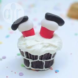 Kerstman in de schoorsteen cupcake recept