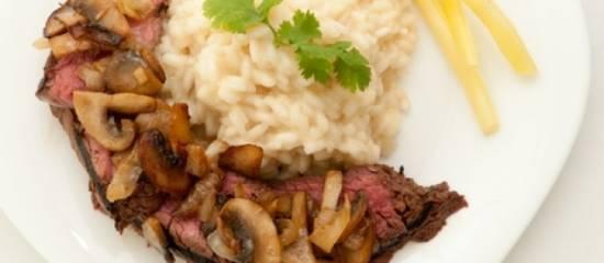 Biefstuk met paddenstoelenrisotto recept