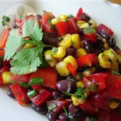 Salade van zwarte bonen en zoete maïs recept