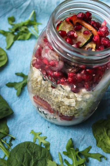 Recept 'quinoasalade met gegrilde groenten in a jar'