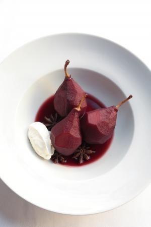 Recept 'peren gepocheerd in rode wijn'