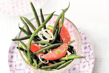Haricots verts salade met grapefruit