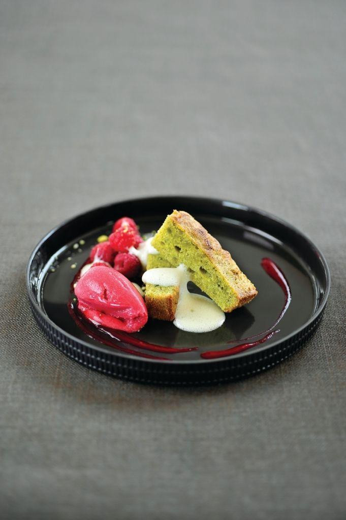 Recept 'pistachebrownie met frambozencoulis'