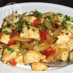 Gemakkelijke kip met tomaat en paprika recept