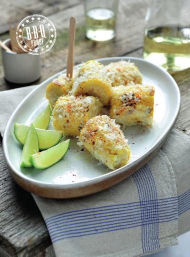 Recept 'gegrilde maïs met parmezaankaas en chili'