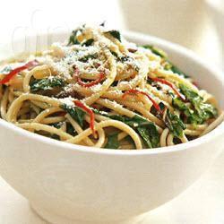 Spaghetti met chilipeper, citroen en rucola recept