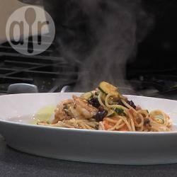 Siciliaanse garnalen met spaghetti recept