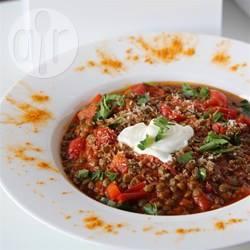 Vegan tomaten-linzensoep recept