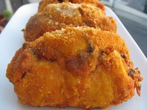 Griekse, zomerse, kip cordon bleu, goed gevuld, barstensvol ...