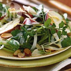 Witlof-waterkerssalade met appel en amandelen recept