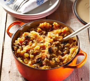 Hutspot met kerrie, gember en rozijnen recept