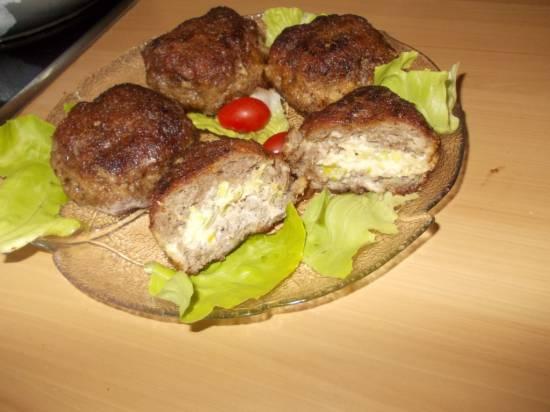 Gehaktballen gevuld met (room) kaas en prei recept