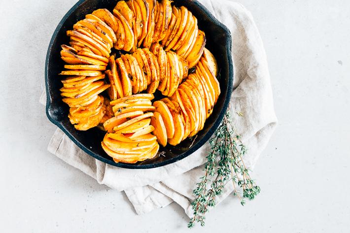 Geroosterde zoete aardappel waaier