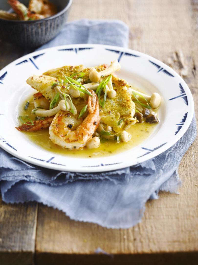 Recept 'gebakken vis met garnalensaus'