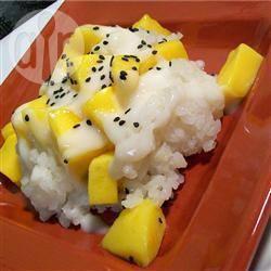 Zoete thaise kleefrijst met mango (khao neeo mamuang) recept ...