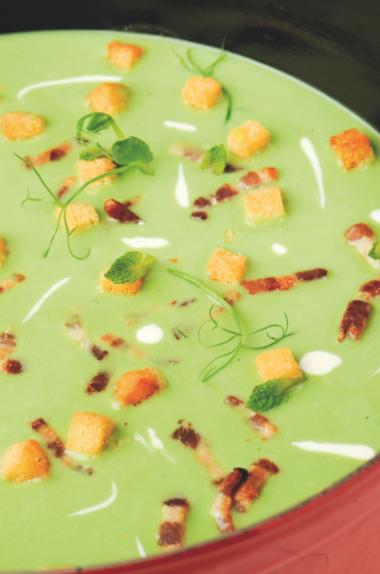 Recept 'erwtensoep met broodcroutons'