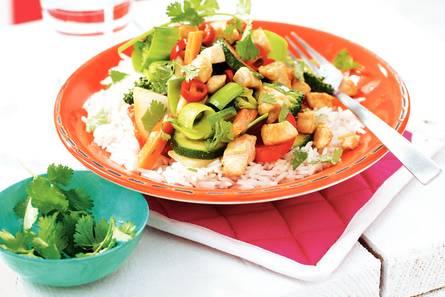 Pittige kip met geurige rijst en gembersiroop