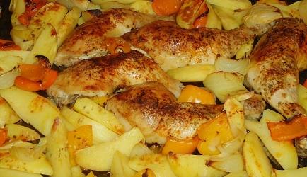 Krokante oregano kip met geroosterde groenten recept