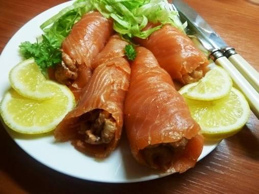 Zalmrolletjes met garnalen ( heerlijk voorgerecht) recept