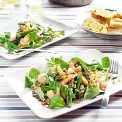Blacktiger-salade met groene asperges en peultjes recept ...